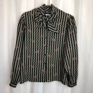 Vintage button down shirt w/ pussy bow